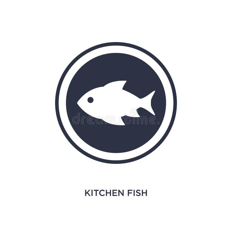icona del pesce della cucina su fondo bianco Illustrazione semplice dell'elemento dal concetto del ristorante e dei bistrot illustrazione di stock
