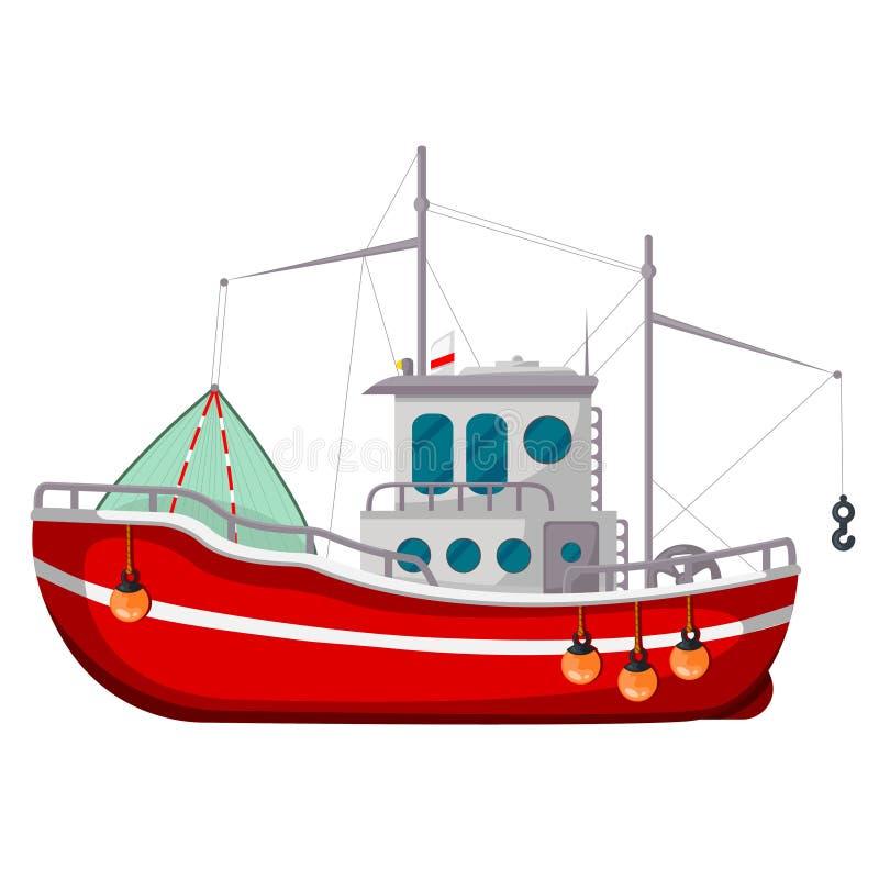 Icona del peschereccio, simbolo industriale di trasporto dell'acqua illustrazione di stock