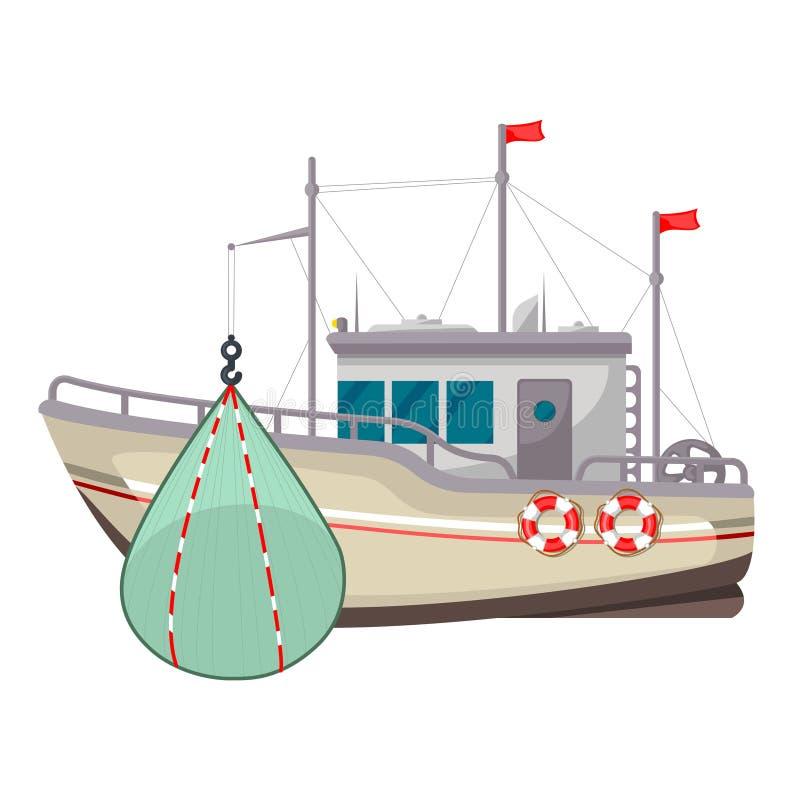 Icona del peschereccio, yacht industriale o nave royalty illustrazione gratis