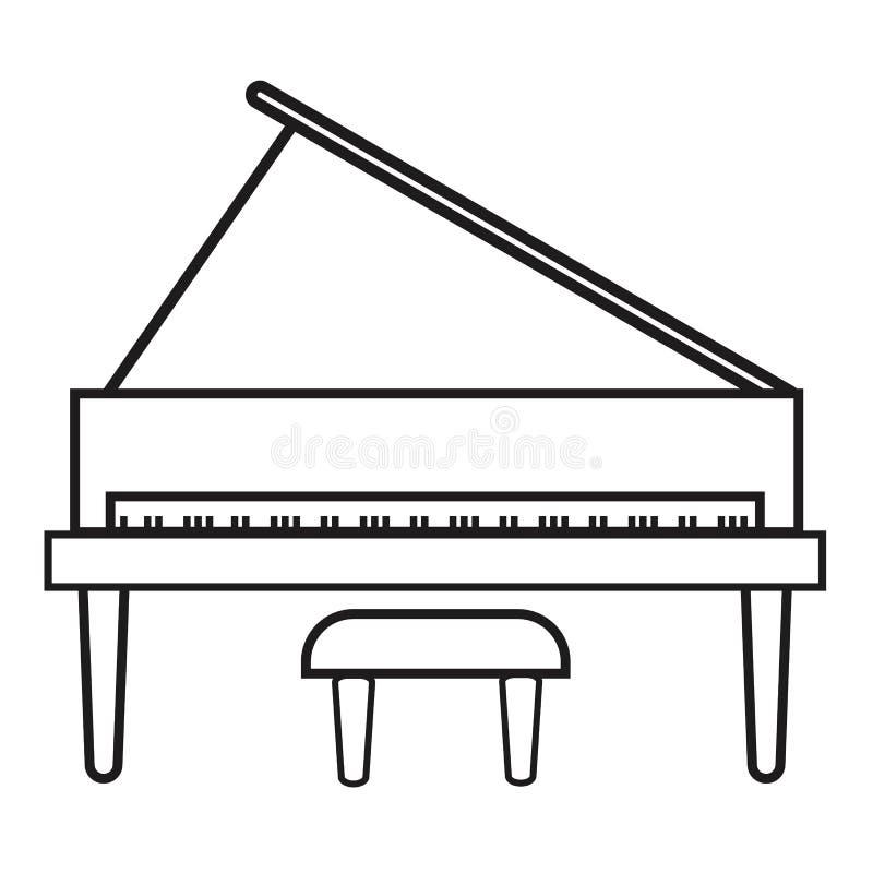 Icona del pianoforte verticale su fondo bianco Stile piano Icona per la vostra progettazione del sito Web, logo, app, UI del pian illustrazione di stock