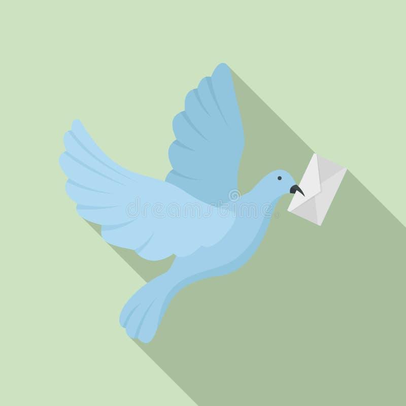 Icona del piccione della posta, stile piano royalty illustrazione gratis