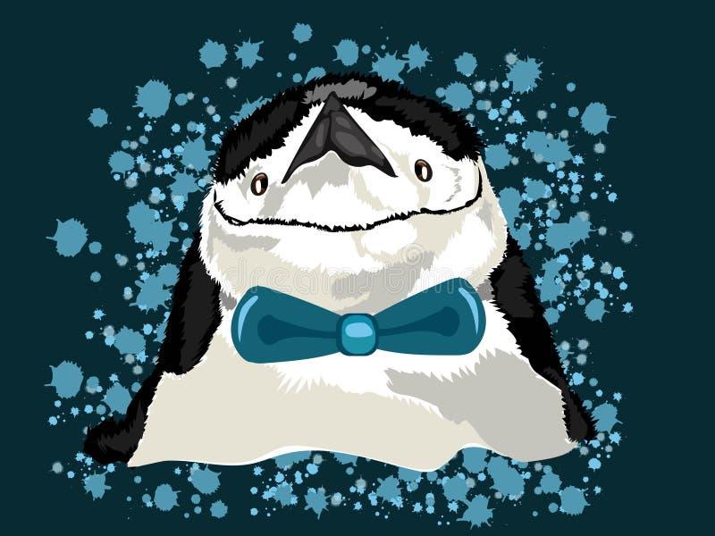 Icona del pinguino con fondo blu nel tipo alla moda di vettore con il legame nell'illustrazione di vettore royalty illustrazione gratis