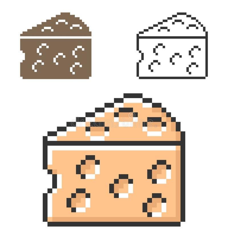 Icona del pixel del pezzo del formaggio in tre varianti illustrazione di stock