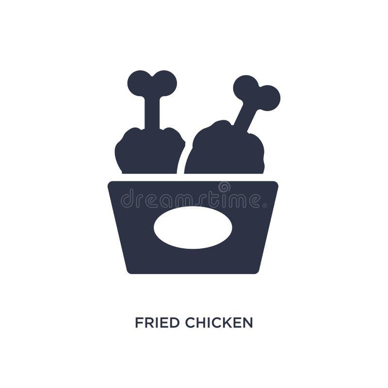 icona del pollo fritto su fondo bianco Illustrazione semplice dell'elemento dal concetto degli alimenti a rapida preparazione illustrazione vettoriale