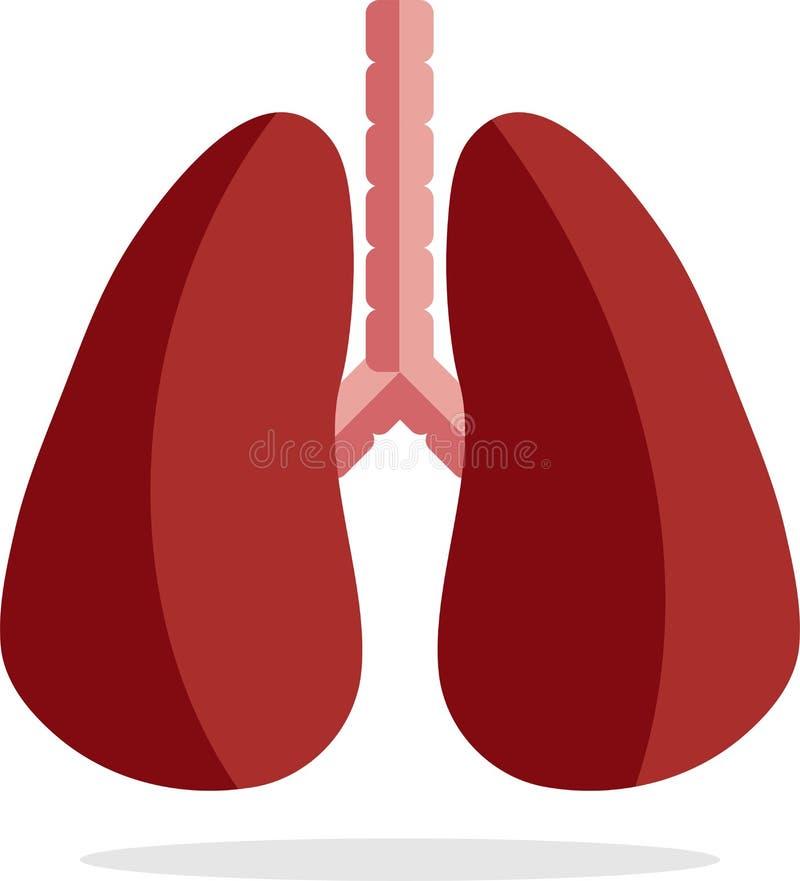 Icona del polmone, stile piano, isolato su fondo bianco Anatomia, concetto di medicina royalty illustrazione gratis
