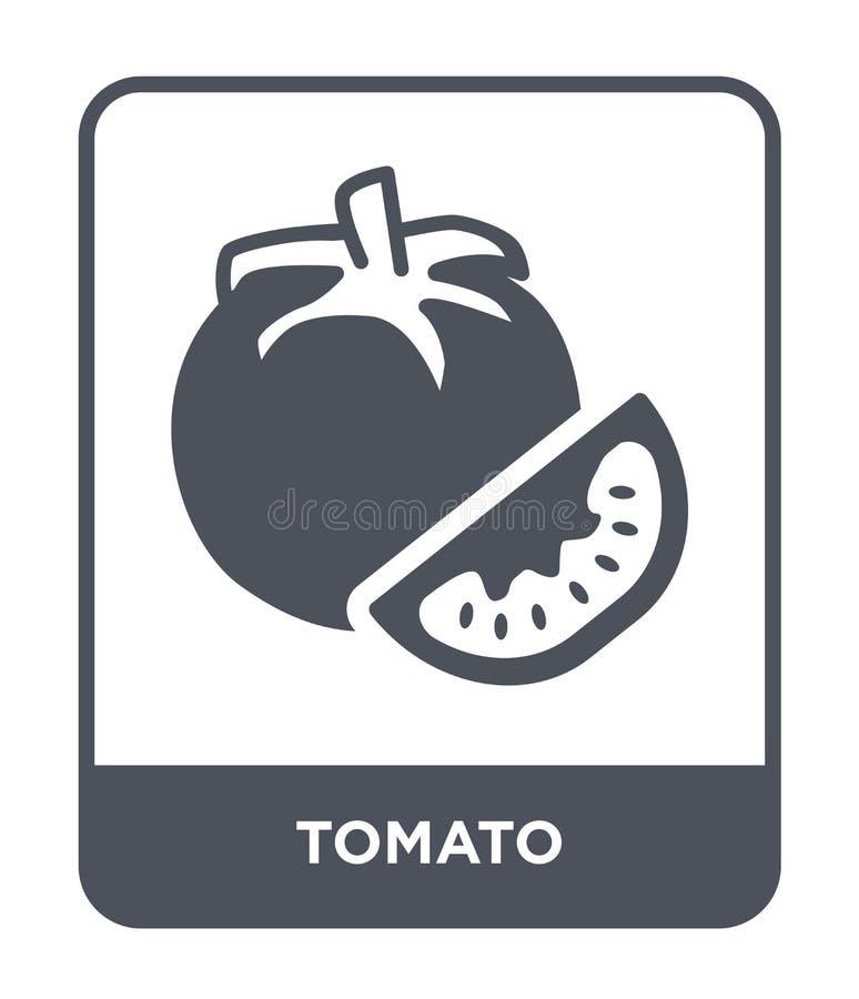 icona del pomodoro nello stile d'avanguardia di progettazione icona del pomodoro isolata su fondo bianco simbolo piano semplice e royalty illustrazione gratis