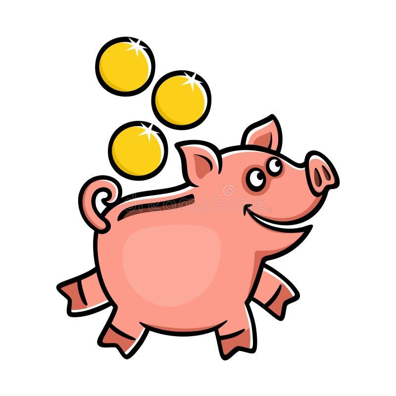 Icona del porcellino salvadanaio su un fondo bianco illustrazione vettoriale
