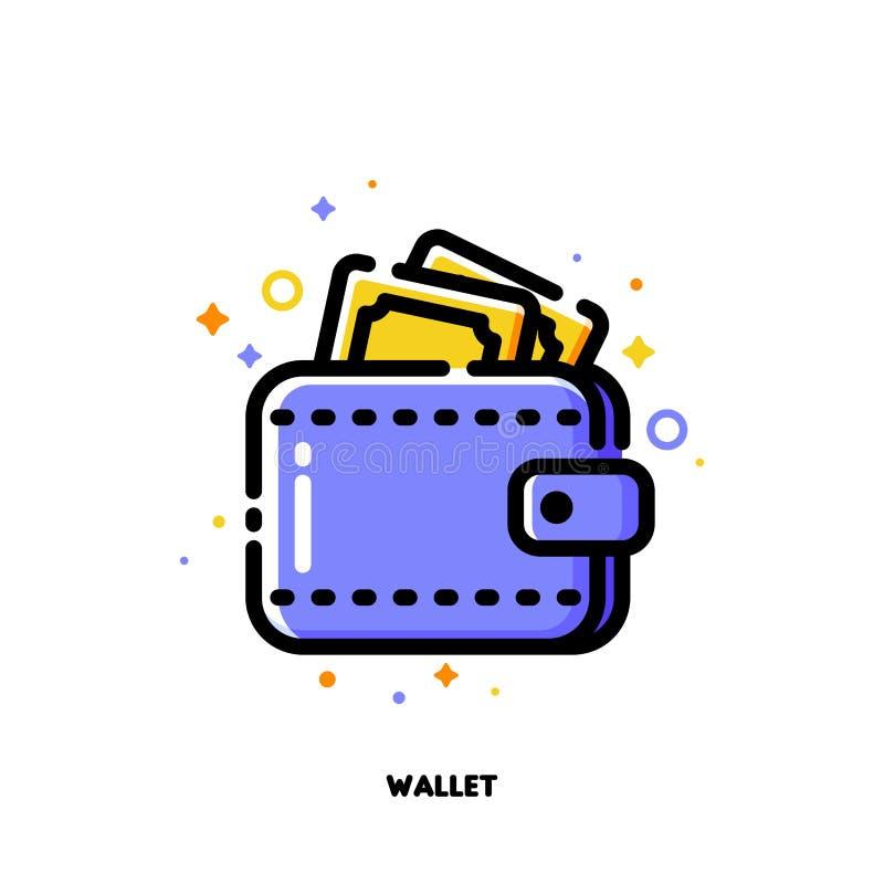 Icona del portafoglio con le banconote per la compera ed il concetto al minuto Stile del profilo riempito piano Pixel 64x64 perfe illustrazione vettoriale