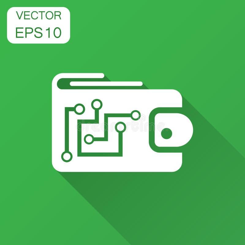 Icona del portafoglio di Digital nello stile piano Illustrazione cripto di vettore della borsa con ombra lunga Finanza online, co illustrazione di stock