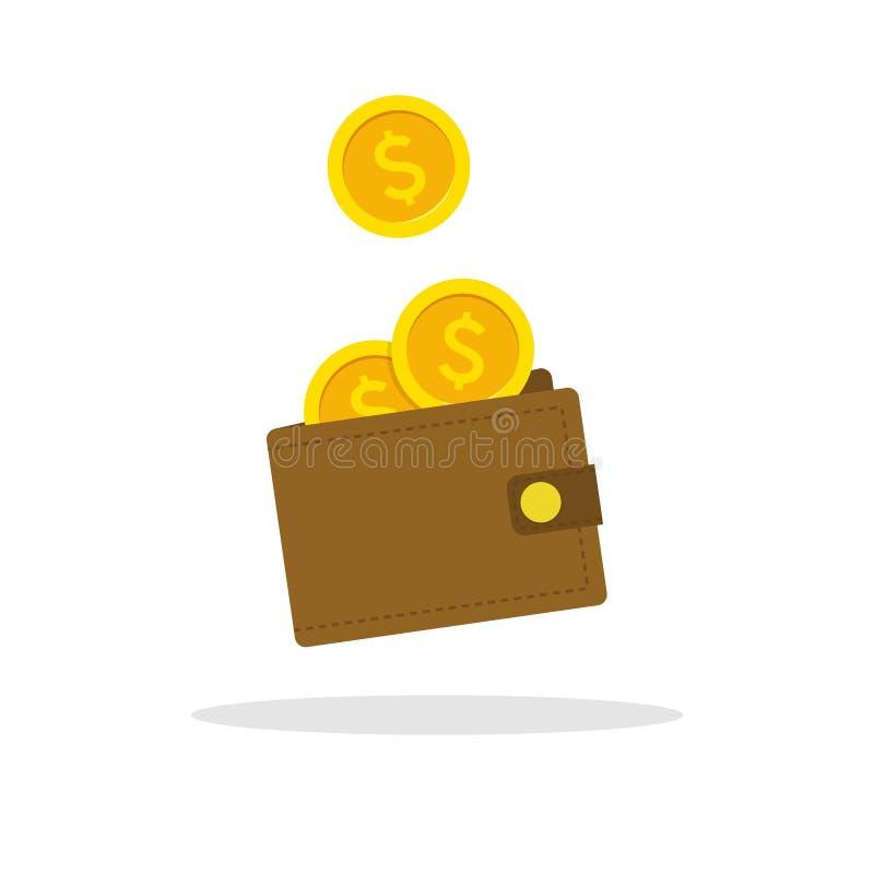 Icona del portafoglio Illustrazione piana del portafoglio di vettore Mucchio dei contanti dei soldi royalty illustrazione gratis