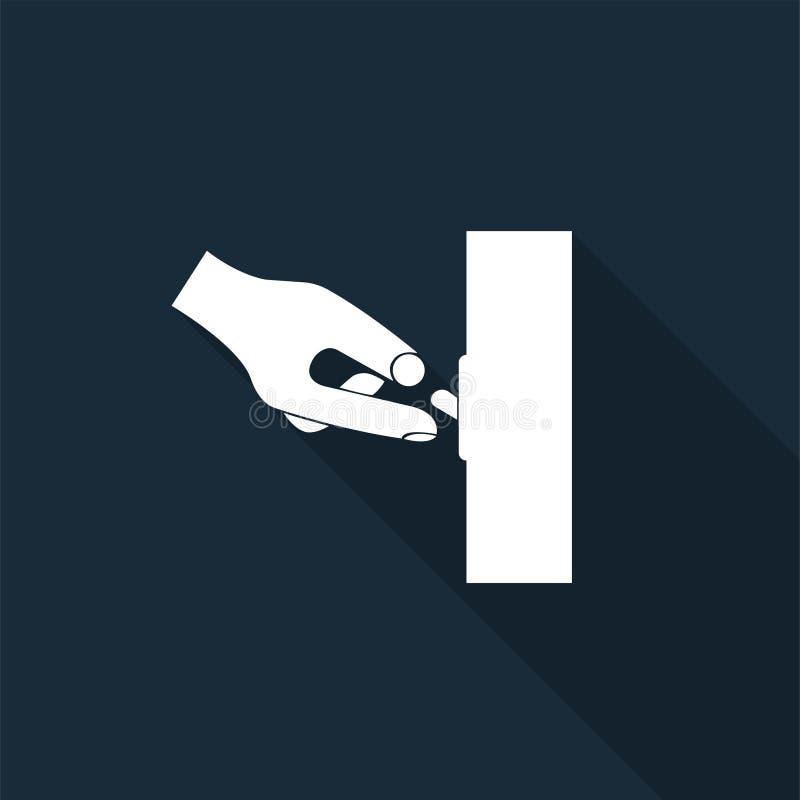 Icona del PPE Dello spengere isolato del segno di simbolo su fondo nero, illustrazione di vettore illustrazione vettoriale
