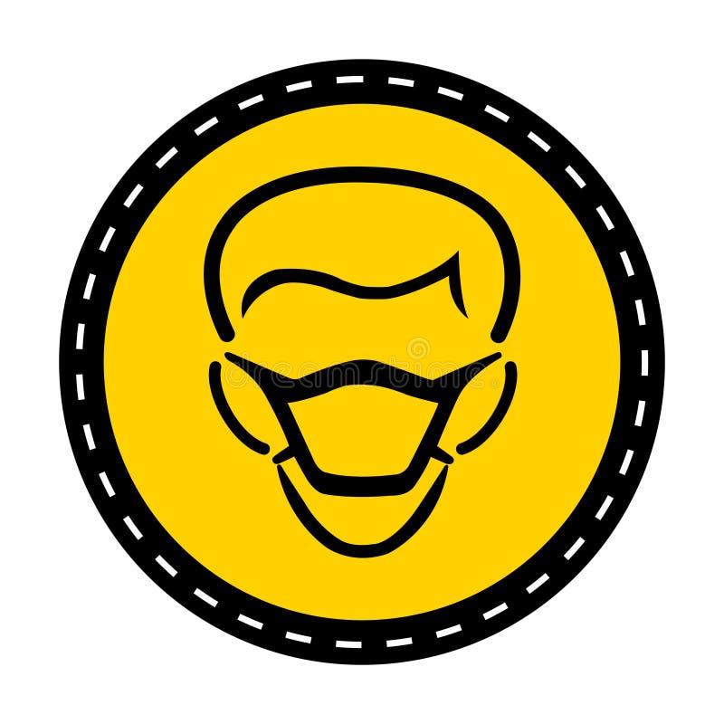 Icona del PPE Isolato del segno di simbolo della maschera di usura su fondo bianco, illustrazione di vettore royalty illustrazione gratis