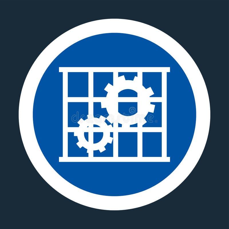 Icona del PPE L'uso custodice il segno di simbolo della protezione su fondo nero, llustration di vettore royalty illustrazione gratis