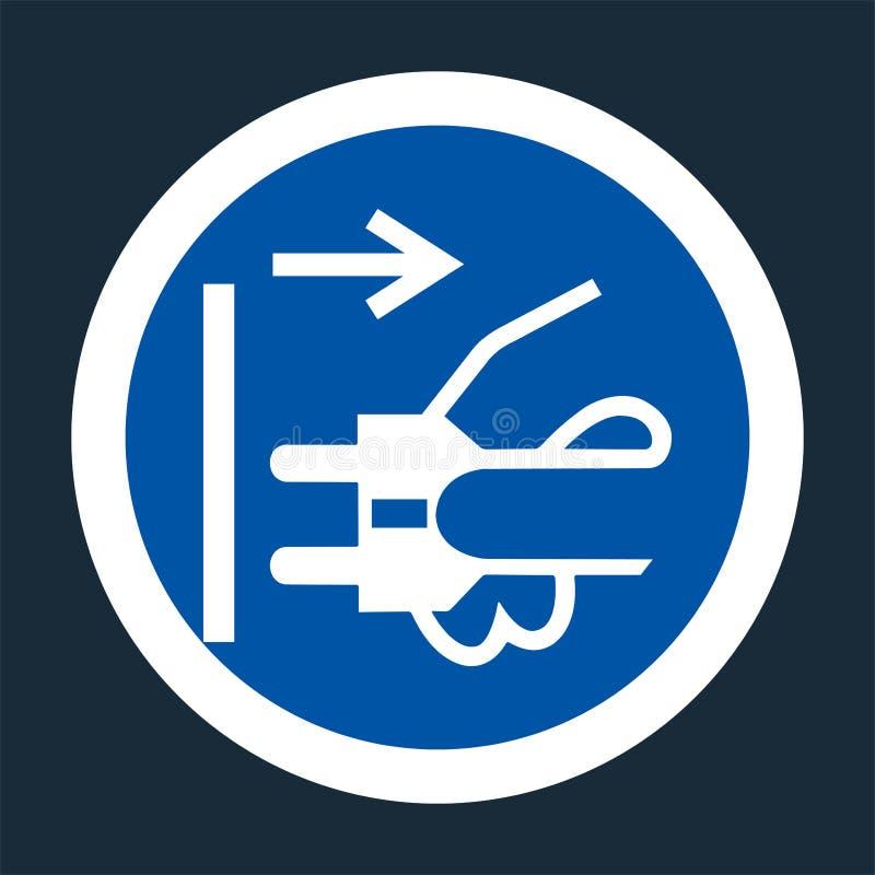 Icona del PPE Le condutture di sconnessione tappano dal segno elettrico di simbolo dello sbocco su fondo nero su fondo nero, llus illustrazione di stock