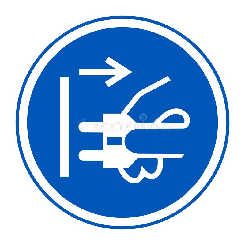 Icona del PPE Le condutture di sconnessione tappano dall'isolato elettrico del segno di simbolo dello sbocco su fondo bianco, l'i royalty illustrazione gratis