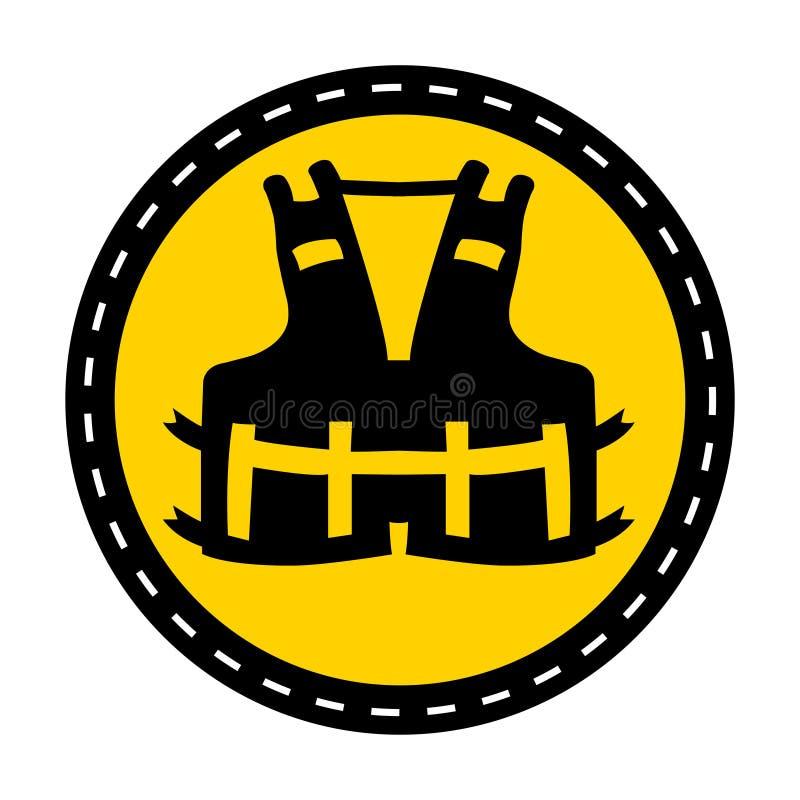 Icona del PPE Portare un giubbotto di salvataggio per l'isolato del segno di simbolo di sicurezza su fondo bianco, illustrazione  illustrazione di stock