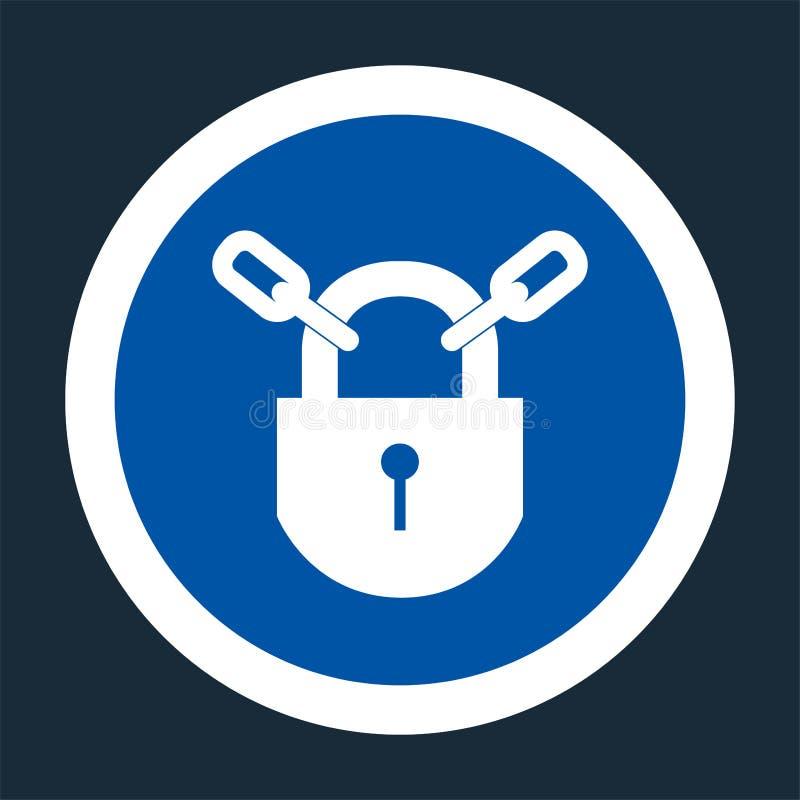 Icona del PPE Tenga il segno bloccato di simbolo su fondo nero, llustration di vettore illustrazione vettoriale