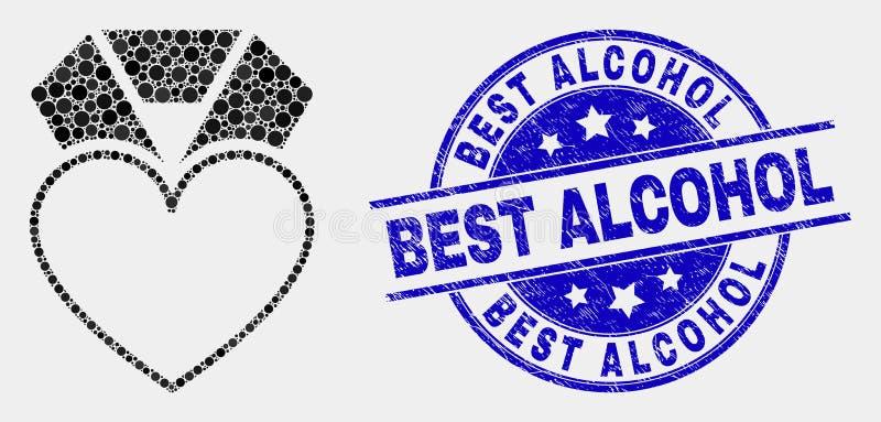 Icona del premio del cuore punteggiata vettore e migliore guarnizione graffiata dell'alcool royalty illustrazione gratis