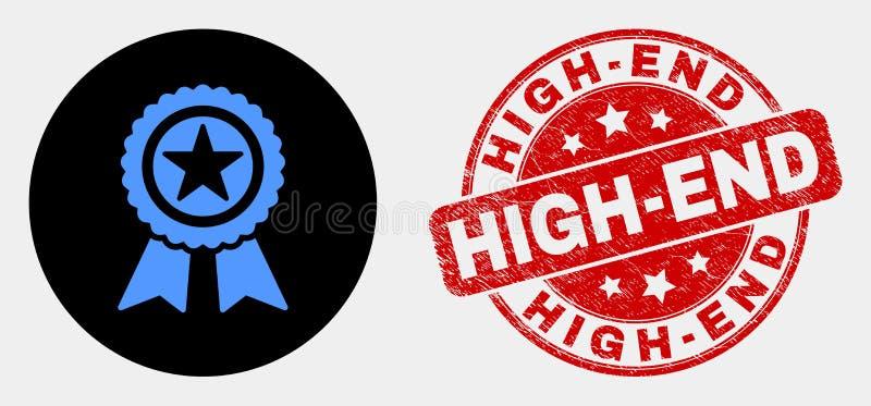 Icona del premio della stella di vettore e filigrana di qualità superiore di lerciume illustrazione vettoriale
