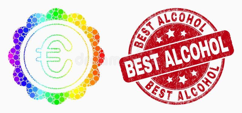 Icona del premio di Pixelated di vettore euro e filigrana spettrali dell'alcool di meglio di emergenza illustrazione vettoriale