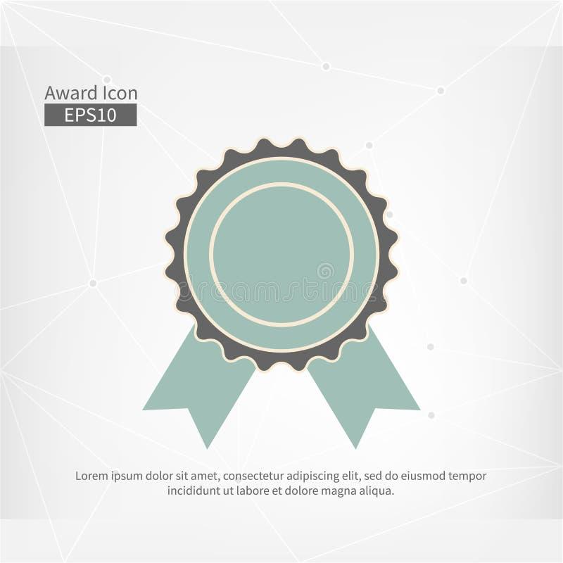 Icona del premio isolata Segno infographic di vettore per il primo posto Simbolo blu grigio del cerchio con il nastro su fondo as illustrazione vettoriale