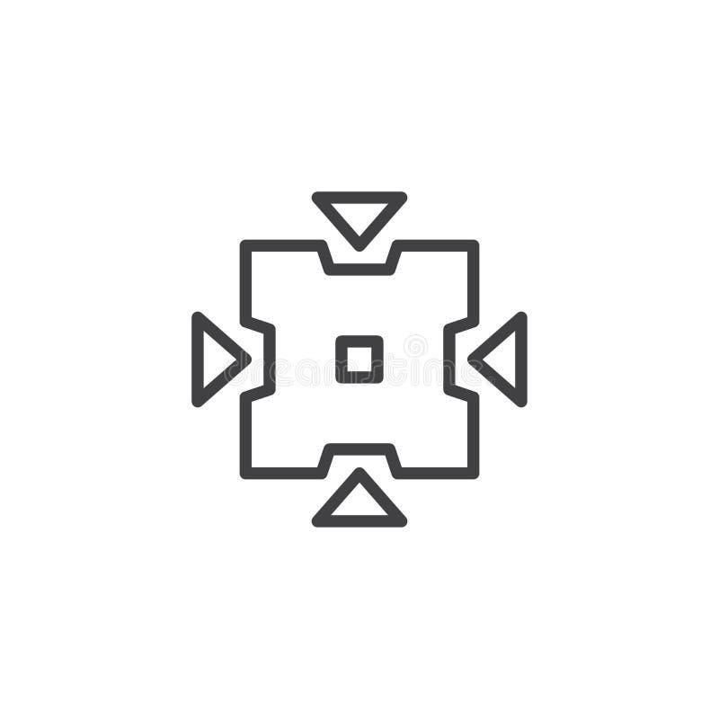 Icona del profilo del bottone dello strumento di pizzico illustrazione vettoriale