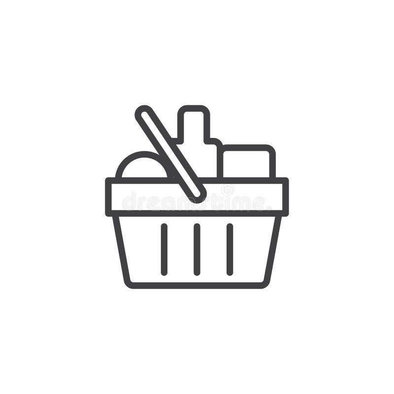 Icona del profilo del cestino della spesa della drogheria illustrazione vettoriale