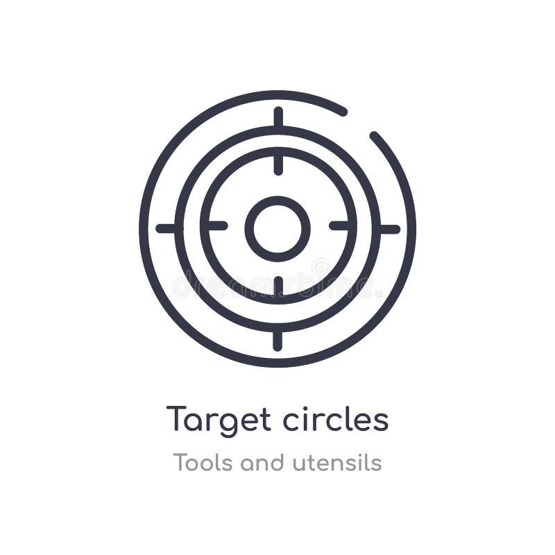 icona del profilo dei cerchi dell'obiettivo linea isolata illustrazione di vettore dalla raccolta degli utensili e degli strument royalty illustrazione gratis