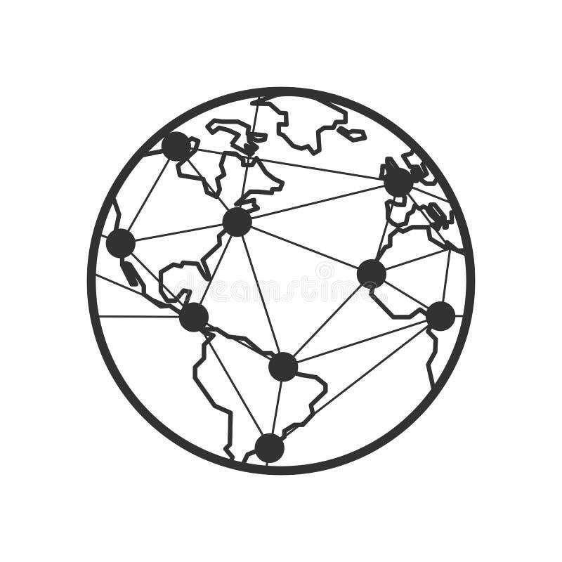 Icona del profilo dei collegamenti e della terra su bianco royalty illustrazione gratis
