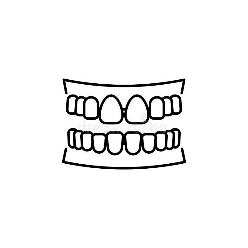 Icona del profilo dei denti dell'organo umano I segni ed i simboli possono essere usati per il web, logo, app mobile, UI, UX illustrazione di stock