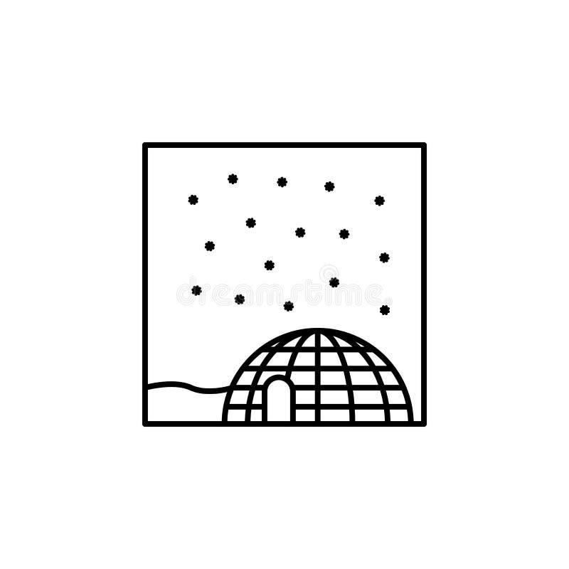 icona del profilo dell'iglù Elemento dell'icona del profilo del paesaggio per i apps mobili di web e di concetto La linea sottile royalty illustrazione gratis