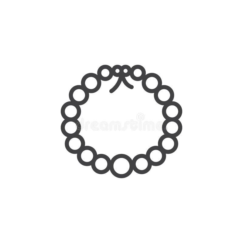 Icona del profilo della collana della perla illustrazione di stock