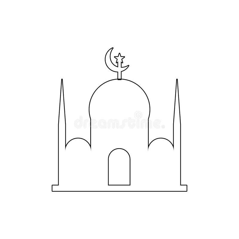 icona del profilo della costruzione della moschea Elementi dell'icona dell'illustrazione delle costruzioni I segni ed i simboli p illustrazione di stock