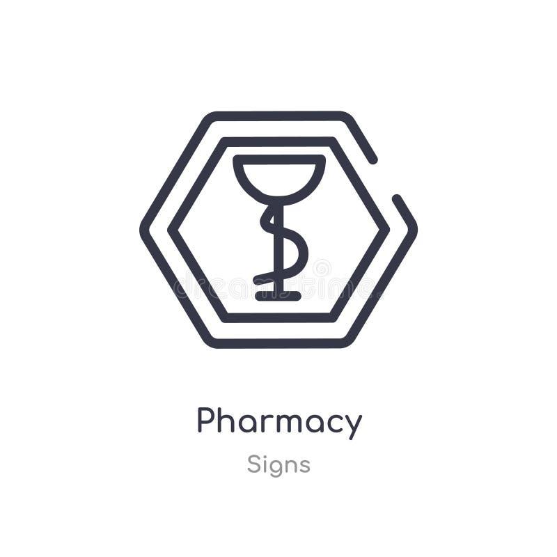 icona del profilo della farmacia linea isolata illustrazione di vettore dalla raccolta dei segni icona sottile editabile della fa royalty illustrazione gratis