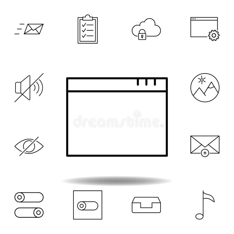Icona del profilo della finestra del App Insieme dettagliato delle icone delle illustrazioni di multimedia del unigrid Pu? essere illustrazione di stock