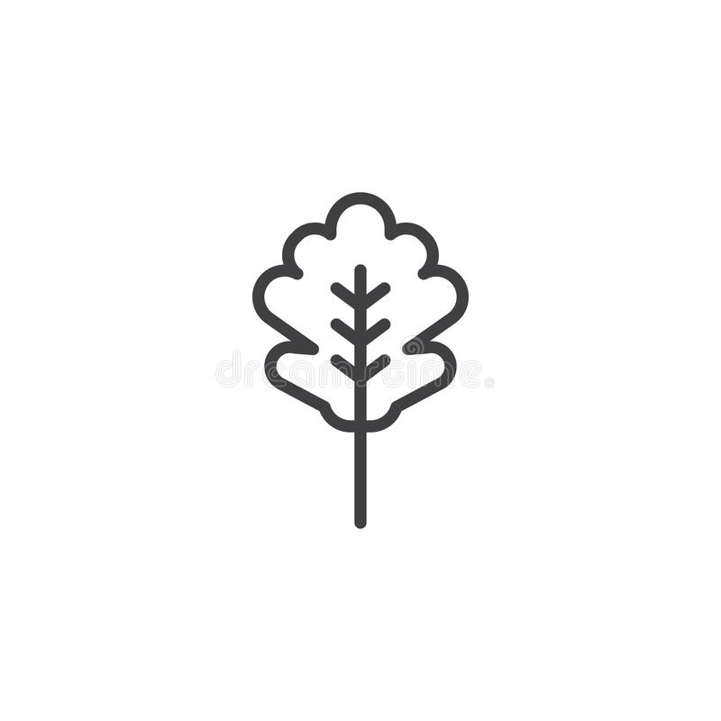 Icona del profilo della foglia della quercia illustrazione vettoriale