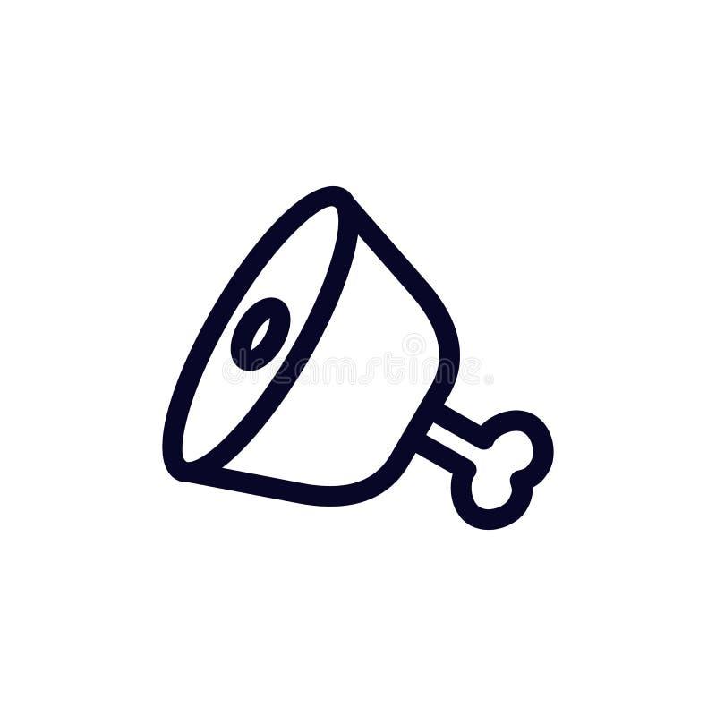 Icona del profilo della gamba del prosciutto segno lineare di stile per il concetto ed il web design mobili royalty illustrazione gratis