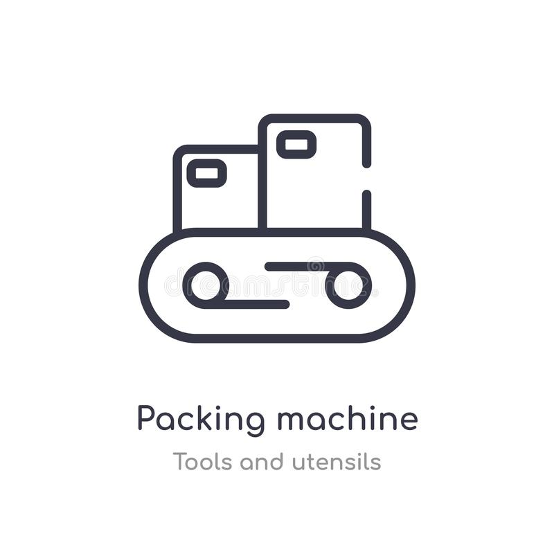 icona del profilo della macchina imballatrice linea isolata illustrazione di vettore dalla raccolta degli utensili e degli strume illustrazione di stock