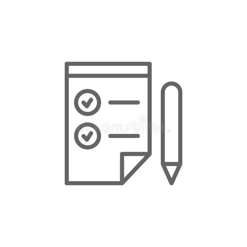 Icona del profilo della penna della lista di controllo Elementi della linea icona dell'illustrazione di affari I segni ed i simbo illustrazione vettoriale