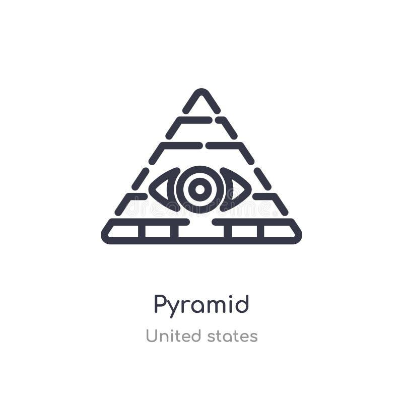 Icona del profilo della piramide linea isolata illustrazione di vettore dalla raccolta degli Stati Uniti icona sottile editabile  royalty illustrazione gratis
