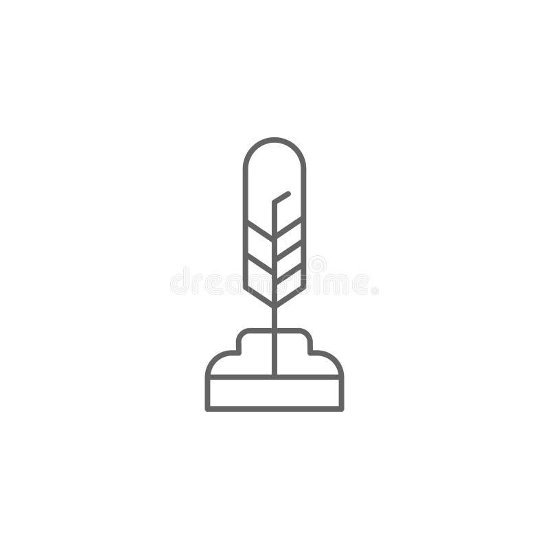 icona del profilo della spoletta della penna della piuma Elementi dell'icona dell'illustrazione di festa dell'indipendenza I segn illustrazione di stock