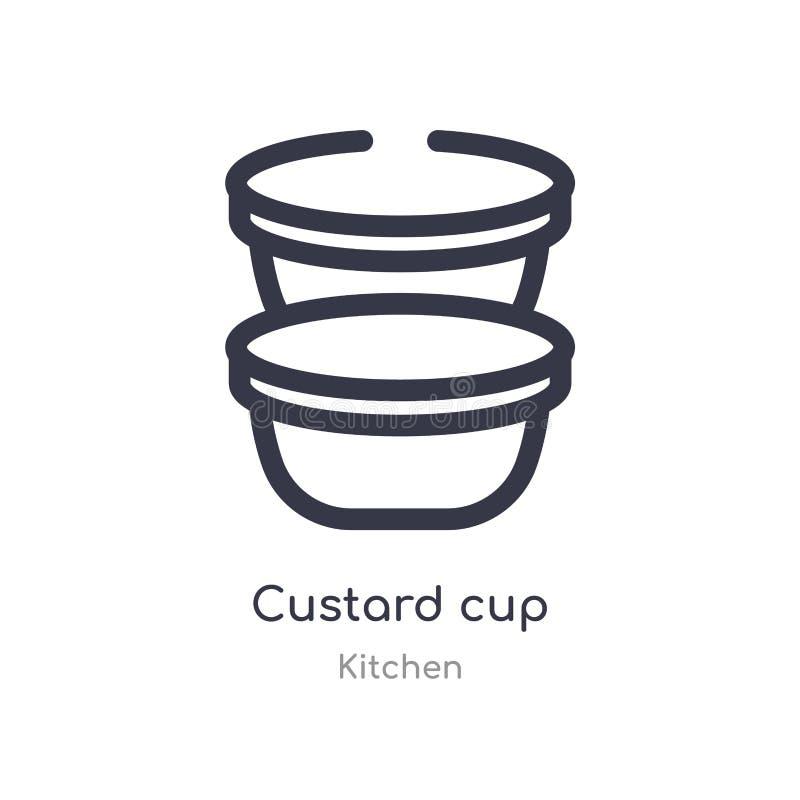 icona del profilo della tazza della crema linea isolata illustrazione di vettore dalla raccolta della cucina icona sottile editab royalty illustrazione gratis