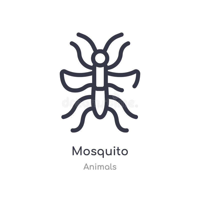icona del profilo della zanzara linea isolata illustrazione di vettore dalla raccolta degli animali icona sottile editabile della illustrazione vettoriale