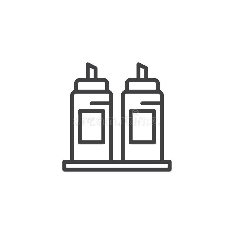 Icona del profilo delle bottiglie di ketchup e della senape royalty illustrazione gratis