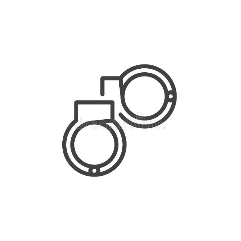 Icona del profilo delle manette illustrazione di stock