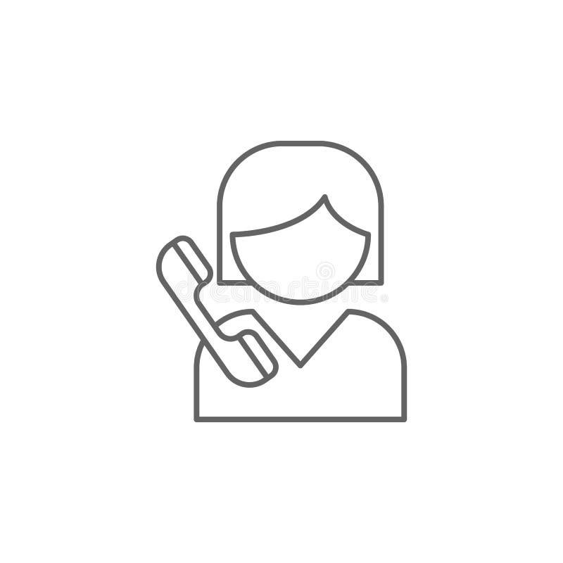 icona del profilo di amicizia di chiamata della ragazza Elementi della linea icona di amicizia I segni, i simboli ed i vettori po illustrazione di stock