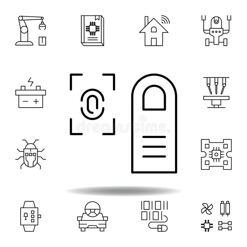 Icona del profilo di ricerca dell'impronta digitale di robotica metta delle icone dell'illustrazione di robotica i segni, simboli illustrazione vettoriale