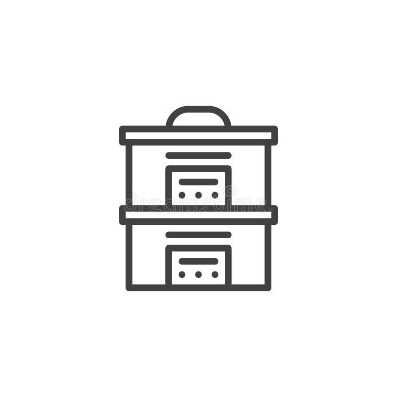 Icona del profilo del fornello del vapore della cucina illustrazione di stock