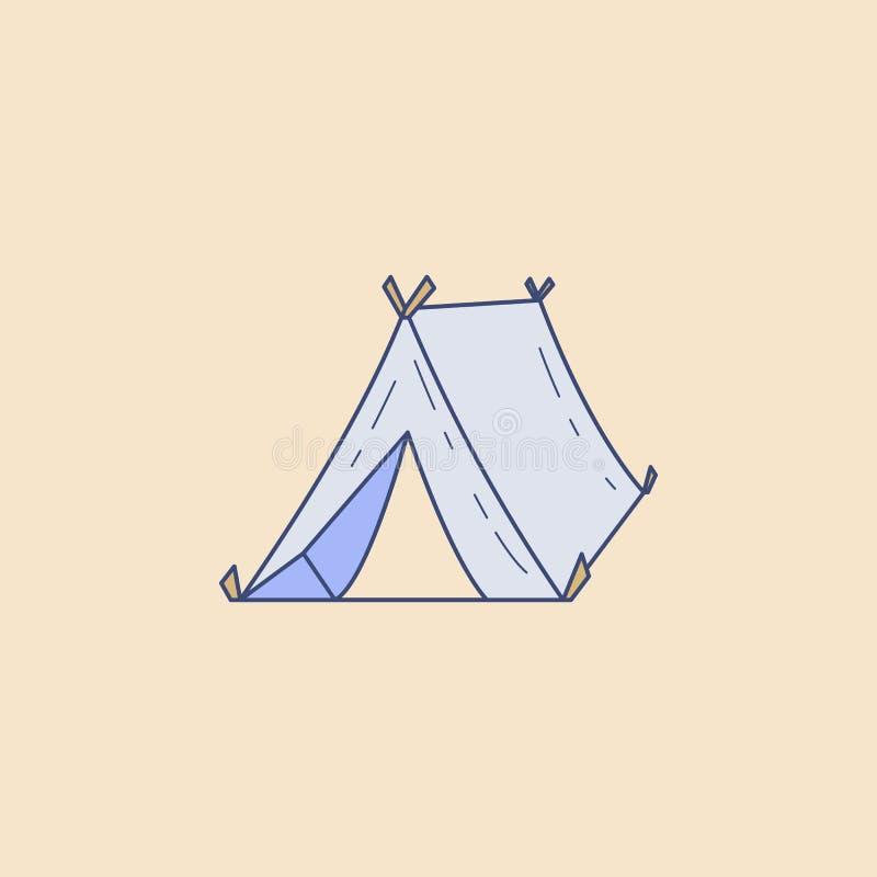 icona del profilo del giacimento della tenda Elemento dell'icona all'aperto di ricreazione per i apps mobili di web e di concetto illustrazione vettoriale
