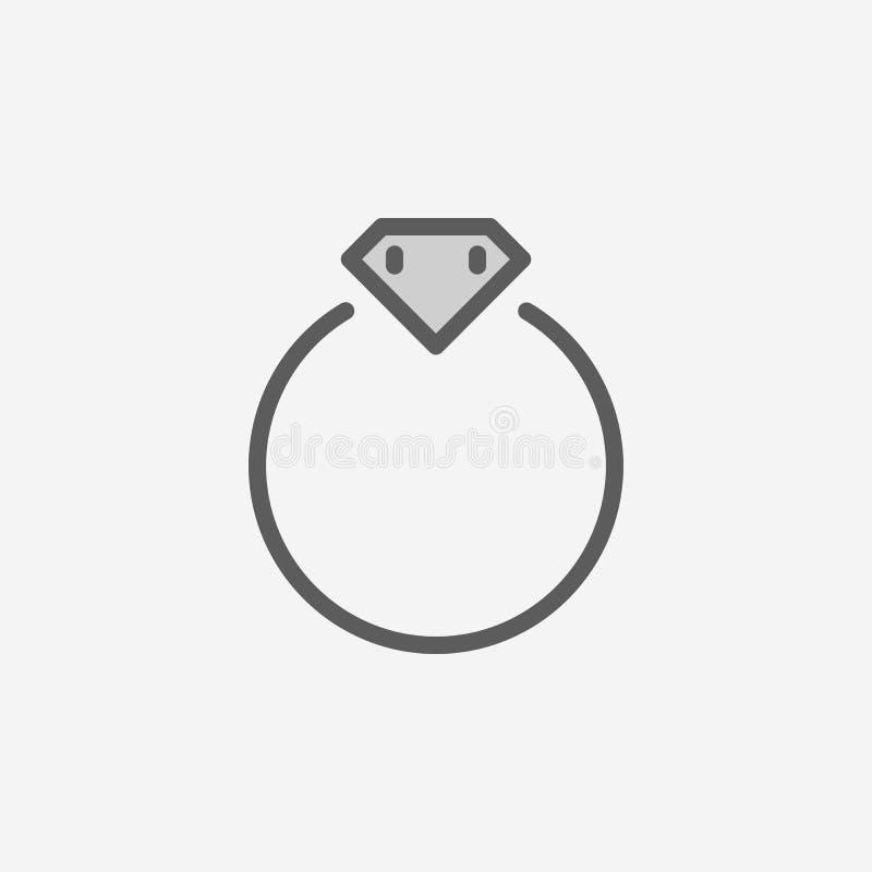 Icona del profilo del giacimento di anello del diamante Un elemento di un'icona semplice di 2 colori Linea sottile icona per prog illustrazione vettoriale